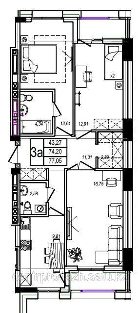 3 комнатная квартира в ЖК Athletic 77.05 м²
