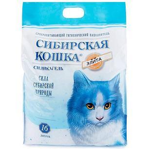 Сибирская кошка 16л Элитный силикагель СИНИЕ ГРАНУЛЫ  наполнитель для туалета, фото 2