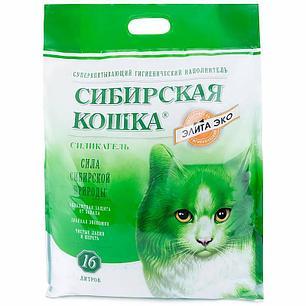 Сибирская кошка 24л Элитный силикагель ЗЕЛЕНЫЕ ГРАНУЛЫ  наполнитель для туалета, фото 2