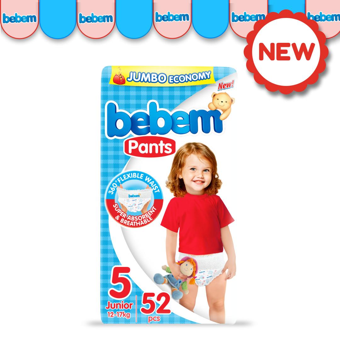Детские трусики-подгузники BEBEM №5 (12-17 кг), 52 шт.