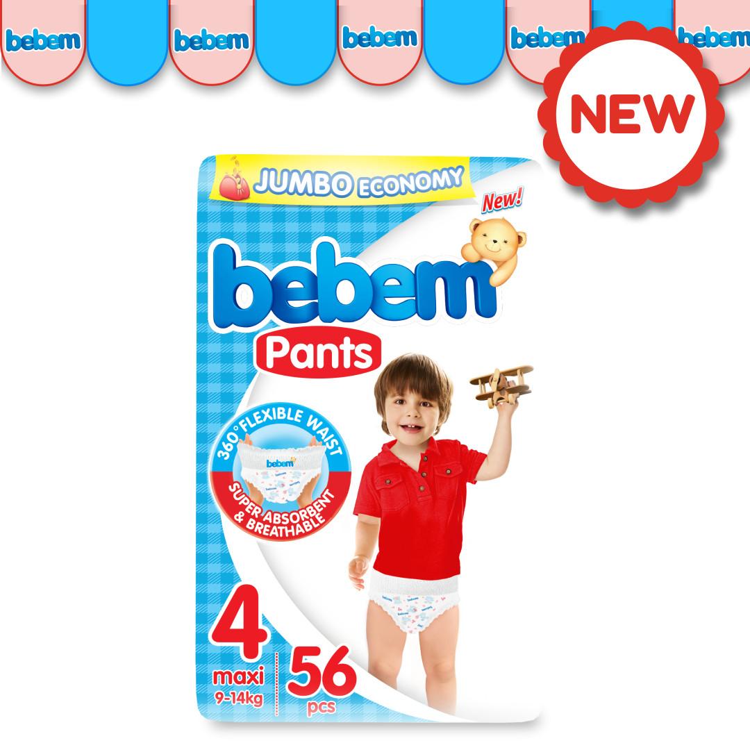 Детские трусики-подгузники BEBEM №4 (9-14 кг), 56 шт.
