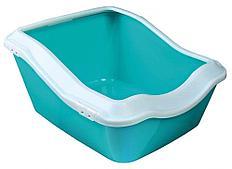 Туалет Trixie Cleany Cat для кошек с высоким бортиком, синий, 45х21х54 см