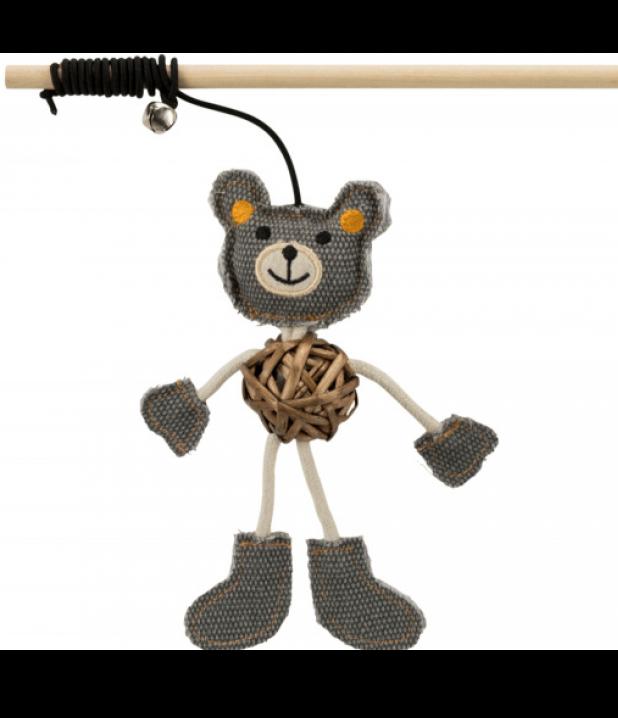 Удочка-дразнилка с медведем Trixie игрушка для кошек - 40 см