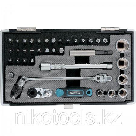 """Набор бит и головок торцевых, 1/4"""", карданный ключ, трещотка, адаптер, S2, 37 шт.// Gross"""