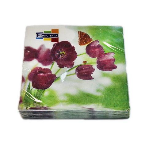 """Салфетки 33х33см, 2 сл., """"Тюльпаны и бабочка"""", Бумага, 20 шт, фото 2"""