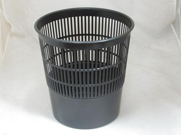 Корзина для бумаг 10л решетч. черная, фото 2