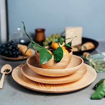 Набор тарелок «Сибирский Кедр», из натурального кедра, 4 шт: 33×2,5 см; 26×2,8 см; 22×4,5 см; 14×7,5 см