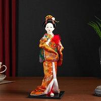 Кукла коллекционная 'Гейша в оранжевом кимоно с веером'