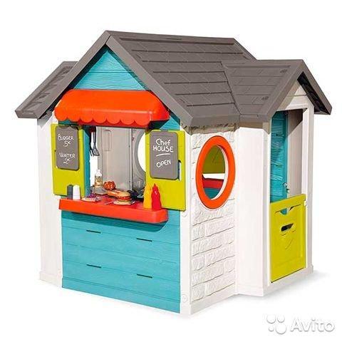 Игровой детский домик 3 в 1 садовый домик, ресторан и магазин Smoby