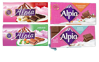 Молочный шоколад Alpia (в ассортименте вкусы) 100 гр.