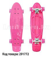 Пенни борд подростковый 56*15 Penny Board с гелевыми светящимися прозрачными колесами розовый