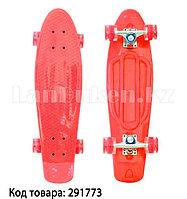 Пенни борд подростковый 56*15 Penny Board с гелевыми светящимися прозрачными колесами красный