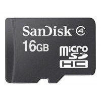 Карта памяти SANDISK 16Gb microSDHC. Адаптер SD - в комплекте. Class 4. Дополнительная память для мобильных те