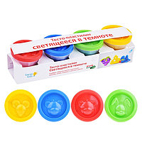 Пластилин Genio Kids Тесто-пластилин светящееся в темноте 4 цвета