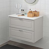 ГОДМОРГОН / ТОЛКЕН Шкаф для раковины с 2 ящ, Кашён светло-серый, под мрамор, 82x49x60 см, фото 1