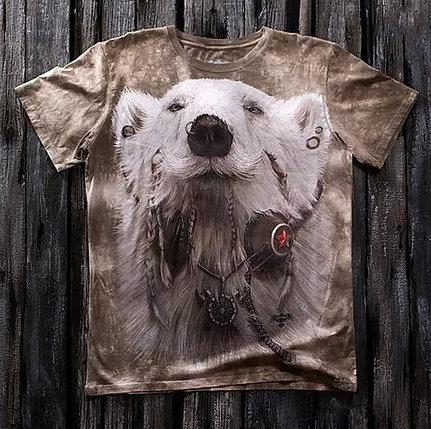 «Медведь хиппи» мужская варёнка футболка 3D в Алматы, фото 2