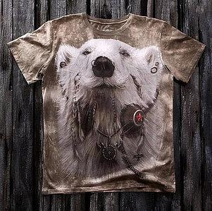 «Медведь хиппи» мужская варёнка футболка 3D в Алматы