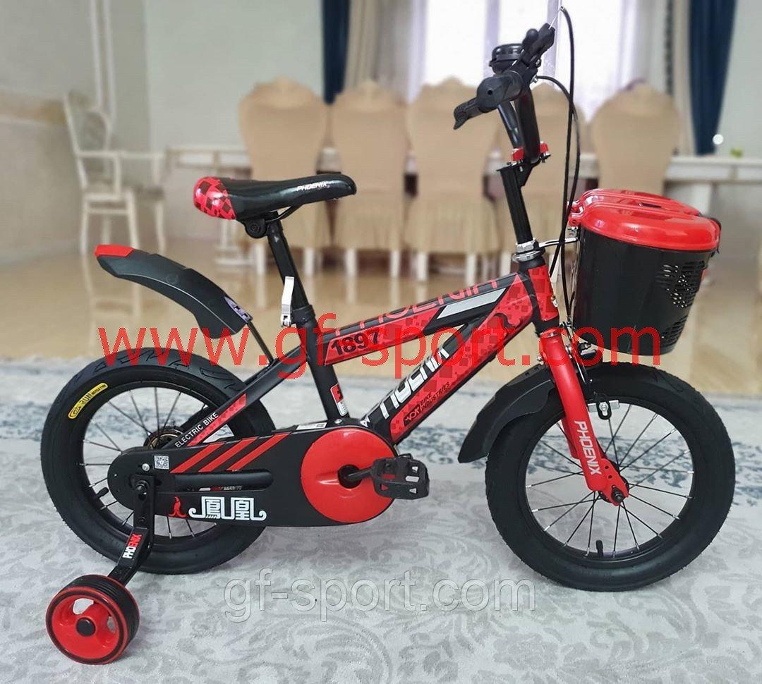 Велосипед Phoenix красный алюминиевый сплав оригинал детский с холостым ходом 12 размер