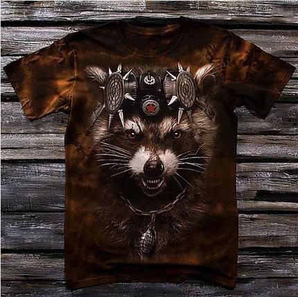 «Енот реактивный» мужская варенка футболка 3D, фото 2