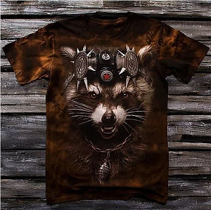 «Енот реактивный» мужская варенка футболка 3D