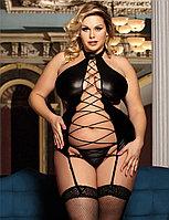 Сексуальный виниловый тедди на завязках + стринги (XL), фото 1