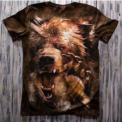 «Медведь» мужская 3D футболка, фото 2