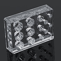 Подставка под емкости для красок пластик. прозр. квадрат. 14 в 1 №72531(2)