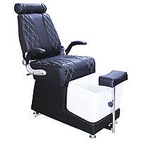 AS-9009 B Кресло педикюрное с ванночкой и откидной спинкой (черное, гладкое)