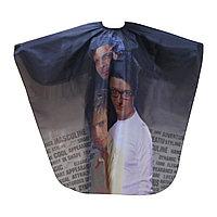 Пеньюар для парикмахера WB-08 (с рис. мужчин), шелковый, черный №74771(2)