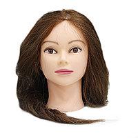 Болванка учебная для парикмахера ТМ-009 70% натур. волосы 70 см (темно-русый) №88228(2)