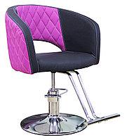 AS-7181 Кресло парикмахерское (черно-сиреневое)