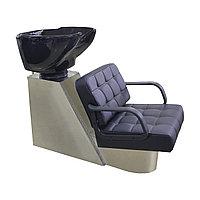 AS-8099 Мойка парикмахерская с креслом и металлической тумбой (черная)