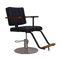 AS-6608 Кресло парикмахерское с деревянными ручками (черное, гладкое)