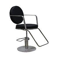 AS-6659 Кресло парикмахерское круглое (черное, гладкое)
