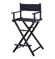 Кресло для визажиста алюминиевое складное, высота 90 см (черное) №74009(2)