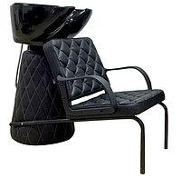 AS-601 Мойка парикмахерская с креслом (черная, гладкая)