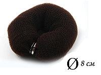 Валик для объема волос Q-66 темно-коричневый Ø 8 см на кнопке AISULU (м) №11202(2)