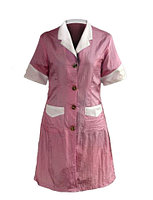Халат для косметолога длинный, розовый с белым воротником F-4003 №34753