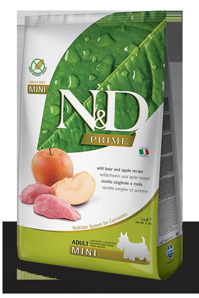 Беззерновой корм Farmina N&D Adult Mini для взрослых собак мелких пород (Кабан, Яблоко) - 800 г