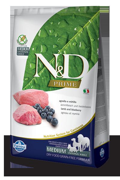 Беззерновой корм Farmina N&D для взрослых собак средних и крупных пород (Ягненок, Черника) - 2.5 кг