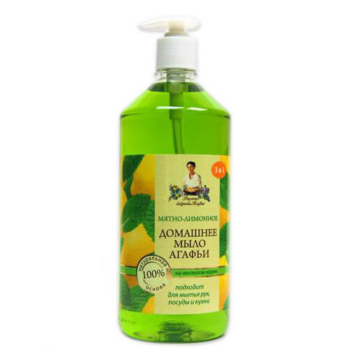 Рецепты Бабушки Агафьи мыло домашнее Агафьи  Мятно-лимонное 1000 мл