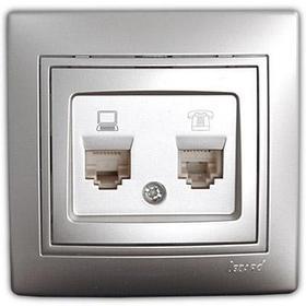 Розетка компьютер+телефон металл серый со вставкой Мира 701-1010-143