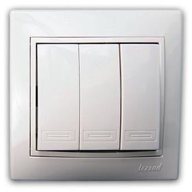 Выключатель тройной белый с белой вставкой Мира 701-0202-109