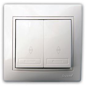 Выключатель проходной двойной белый с белой вставкой Мира 701-0202-106