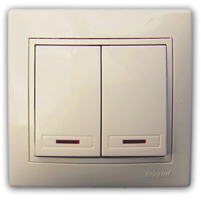 Выключатель двойной с подсветкой крем со вставкой Мира 701-0303-112