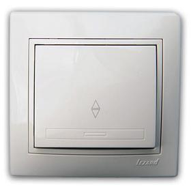 Выключатель проходной белый с белой вставкой Мира 701-0202-105