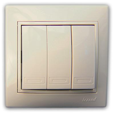 Выключатель тройной крем со вставкой Мира 701-0303-109