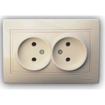Розетка двойная б/з керамика крем со вставкой Мира 701-0303-128