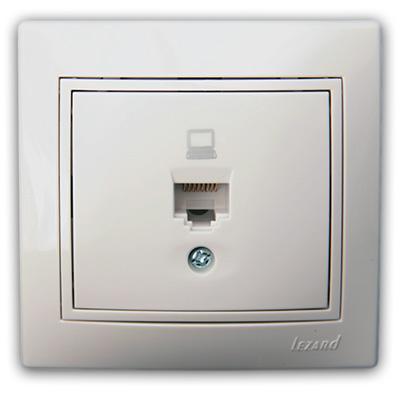 Розетка компьютерная белый с белой вставкой Мира 701-0202-139