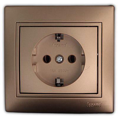 Розетка с/з керамика светло-коричневый перламутр Мира 701-3131-122